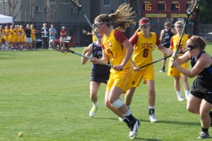 Young and talented· Sophomore midfielder Amanda Johansen leads a strong contingent of underclassmen for the USC women's lacrosse team. Johansen scored 41 goals and added 16 assists in a strong freshman campaign. - Ralf Cheung | Daily Trojan