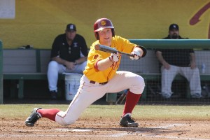 I like big bunts · Senior infielder Kevin Swick leads the Trojans with a .340 batting average this season, up from his .305 average last year. Swick recorded two hits against the Dirtbags when the teams faced off in February. - Nick Entin | Daily Trojan