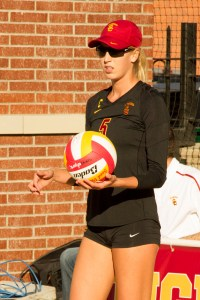 Sandy and dandy · Senior captain Kirby Burnham, who won the pairs title last year with Stevi Robinson, has led USC on court one this season. - Tucker McWhirter | Daily Trojan