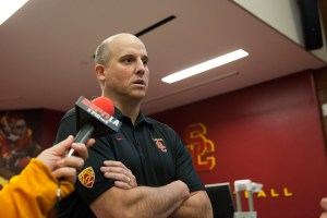 Stepping up · In his one game as interim head coach last season, Clay Helton led the Trojans to a 45-20 win over Fresno State. The win was instrumental in Steve Sarkisian retaining Helton as offensive coordinator. - Ralf Cheung | Daily Trojan
