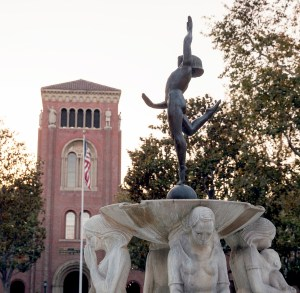 """Restored · """"The Youth Triumphant"""" fountain (above) is now almost fully repaired after sustaining significant damages during the annual fountain run — a tradition where seniors attempt to run to all of the campus' 30 fountains. - Ralf Cheung   Daily Trojan"""