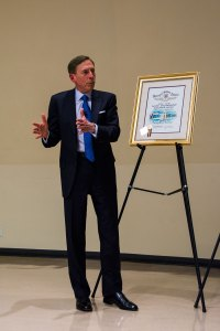 Army strong · Former CIA director and retired four-star general David Petraeus speaks at the Health Sciences Campus Tuesday.  - Mariya Dondonyan | Daily Trojan