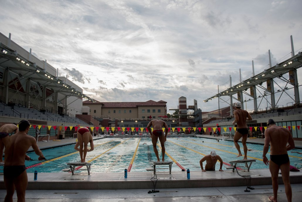 Making a splash · The men's swimming and diving team improved to 3-0 on the season after its victory over Hawaii last weekend at home. - Mariya Dondonyan | Daily Trojan