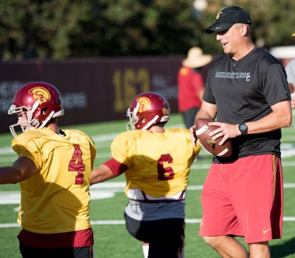 Carrying on tradition · Interim head coach Clay Helton became the eighth consecutive coach to win his debut at the Coliseum after the Trojans 42-24 rout of No. 3-ranked and Pac-12 South leader Utah last Saturday. - Mariya Dondonyan | Daily Trojan