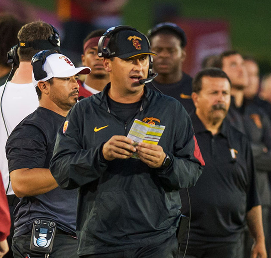 No show ·  Athletic Director Pat Haden asked Steve Sarkisian to take a leave of absence for an undisclosed reason after the coach missed Sunday's practice. Offensive coordinator Clay Helton will be the interim head coach for now. - Tal Volk | Daily Trojan
