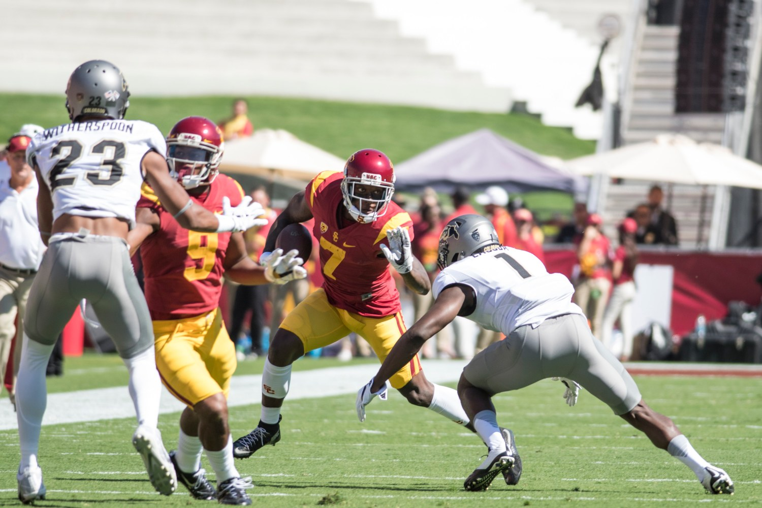 """Brian Chin   Daily Trojan """"I'm sad for him"""" · A torn ACL will end redshirt junior wide receiver Steven Mitchell Jr.'s season. Mitchell was third on the team with 24 catches. Head coach Clay Helton said Mitchell was playing his """"best ball."""""""