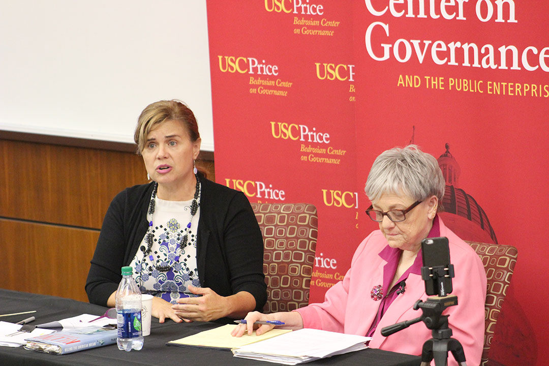 Julia Erickson | Daily Trojan Current affairs · Journalist Pilar Marrero and professor Sherry Bebitch Jeffe discussed immigration and the election at Wednesday's event.