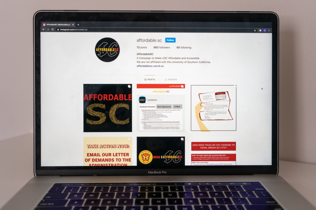 """Photo of a laptop computer with the AffordableSC Instagram website page open. The page's bio reads """"A Campaign to Make USC Affordable and Accessible."""""""