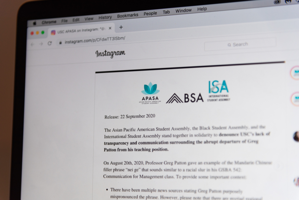 "A portion of a MacBook Air screen is displayed in the picture, with the screen showing an Instagram statement. The statement displays three graphics from APASA, BSA and ISA. The joint statement starts with the wording ""Release: 22 September 2020."""