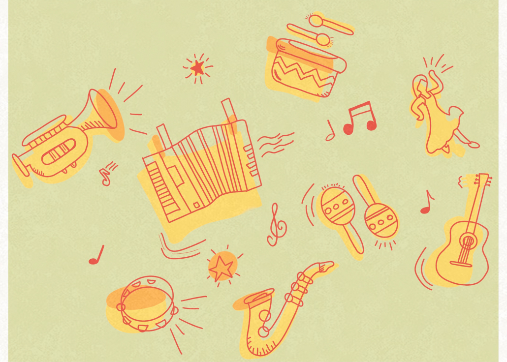 This is a design of instruments drawn with a red outline and a yellow shadow, including the accordion, trumpet and maracas.