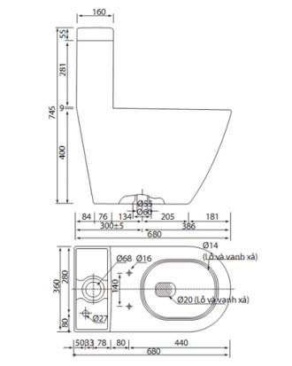 Bản vẽ bồn cầu Viglacera V199