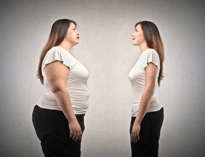 obese and skinny woman