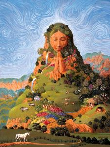 A Drawing of Mother Earth in a mountain