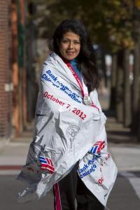Lucero Rodriguez after the Chicago Marathon 2012