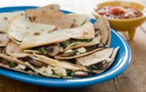 Spinach and Mushroom Quesadillas with Feta