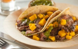 Flank Steak Fajitas with Mango Chimichurri