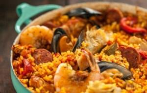 Spanish Paella with Chorizo, Chicken and Shrimp