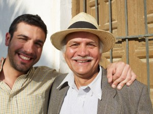 Senior father and son, smiling, portrait