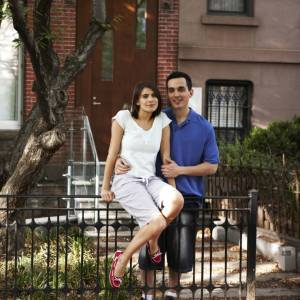 Couple in front of row-house