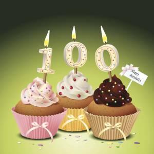 celebrating 100 years old, cupcake 100