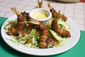 salad with bacon wrapped shrimp