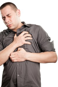 man with chest pains