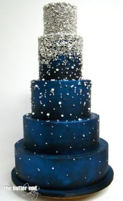 silver and navy cake