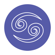 blue and white cancer zodiac astrology symbol