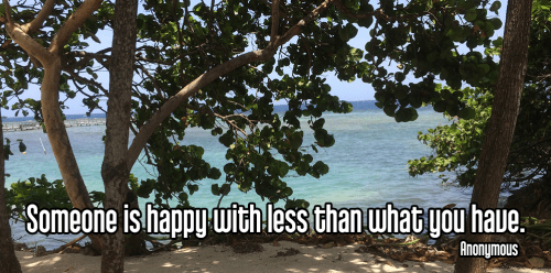 cool perspective looking through green leafy mangrove trees sand to bright blue ocean Caribbean water with wind rippling surface along coastal beach shoreline - santosha contentment happy happiness Quote: Someone is happy with less than what you have. - Anonymous