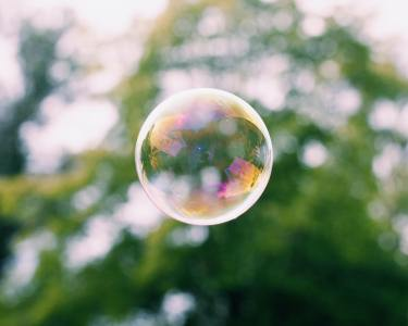 cool shot of rainbow bubble floating in from of sunlit green leaves - Bubble - original work -https://unsplash.com/photos/zjq0I3XupiI