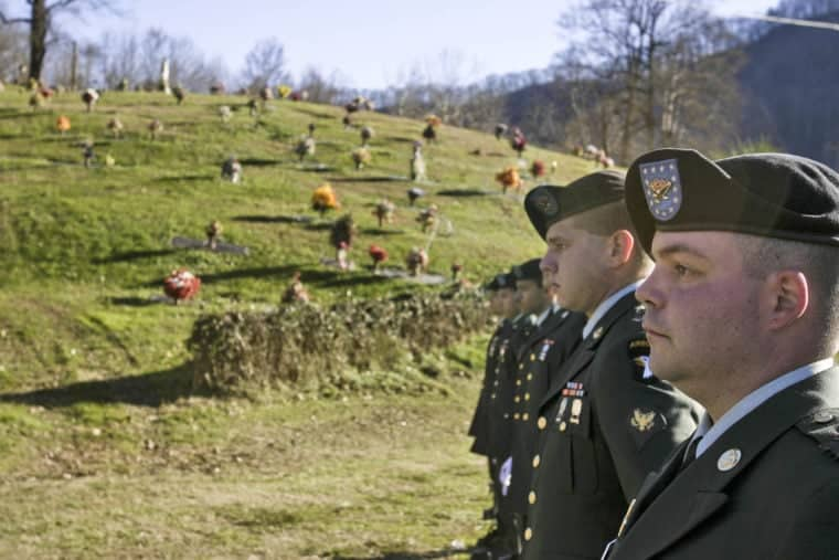 Soldiers line up for the funeral of Corporal Brent Coleman in Pikeville, KY. Photo by Shawn Poynter.