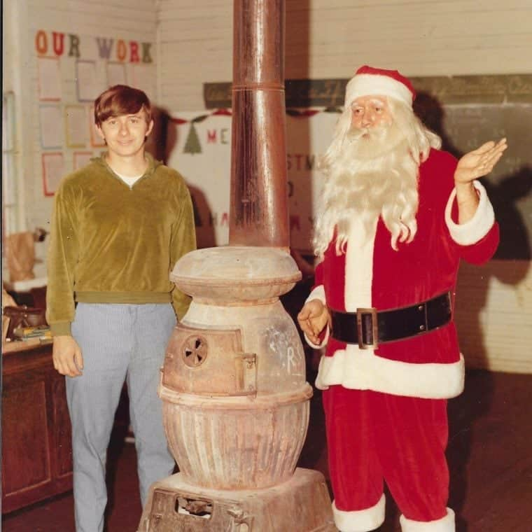 Bill Douglas, on right with beard, had the best Santa wardrobe in Hazard in 1968 -- a velvet suit and beard made of human hair. On the left is the younger Bill Douglas, Douglas' son. (Photo via Facebook)