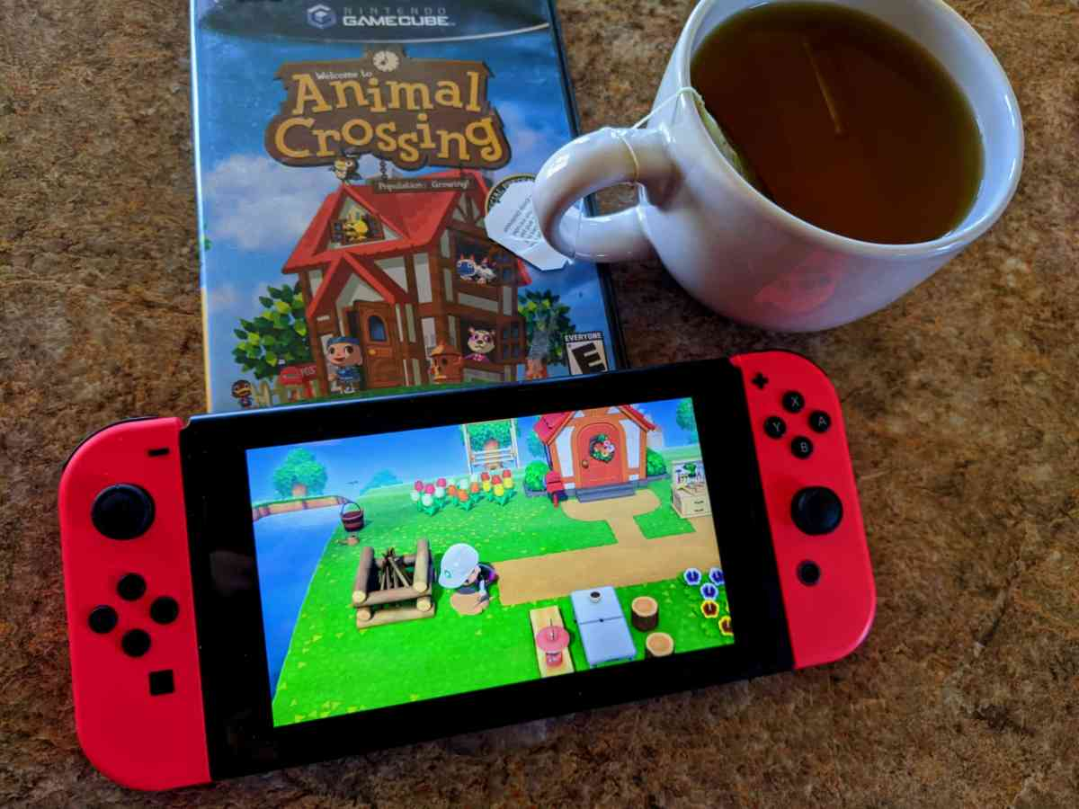 Photo of social distancing with Animal Crossing and tea