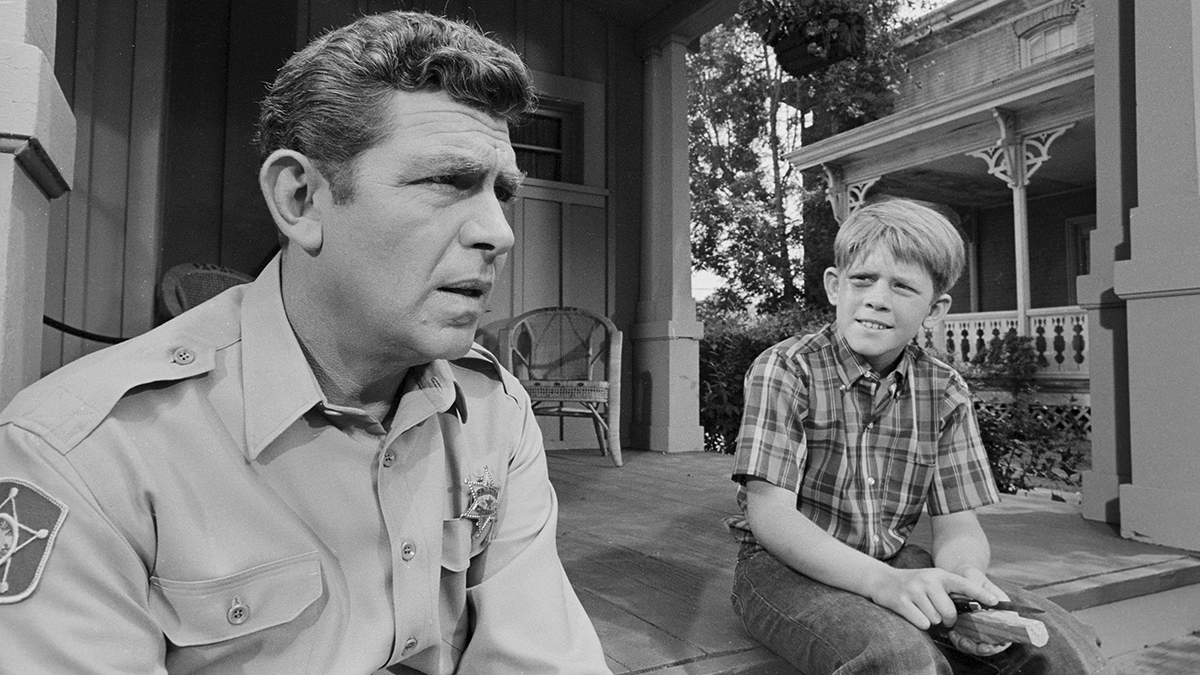 A scene from The Andy Griffith Show showing Andy and Opie