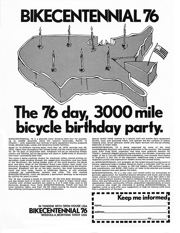 A vintage Bikecentennial flyer advertises a 76-day, 3,000-mile bicycle birthday party