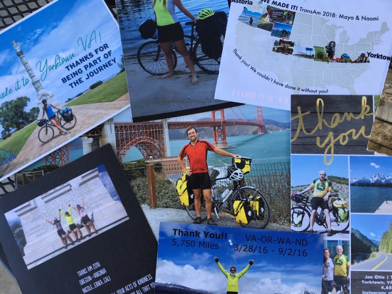 A stack of postcards and thank you cards featuring photos and messages from grateful bikers