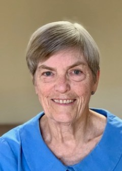 In this headshot, Diana Gordon has short gray hair and wears a blue shirt.