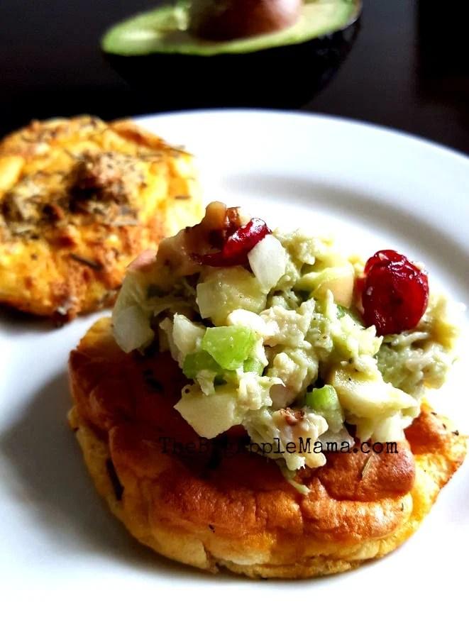 Avocado Cranberry Chicken salad on a Cloud Bread