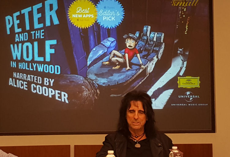Alice Cooper and Petter and the wolf in Hollywood app launch NYC