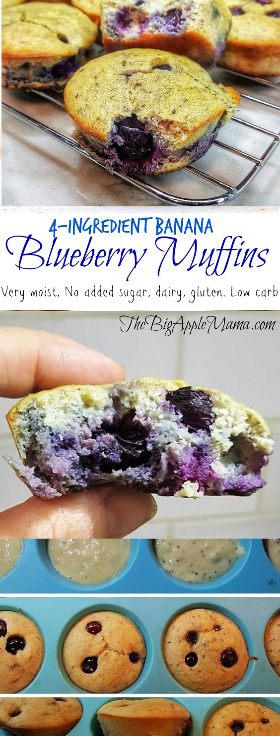 4-Ingredient low carb banana blueberry muffins. Gluten free. Paleo friendly. No added sugar