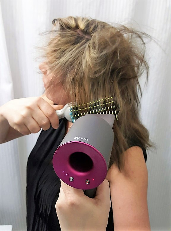 Dyson super sonic hair dryer in action