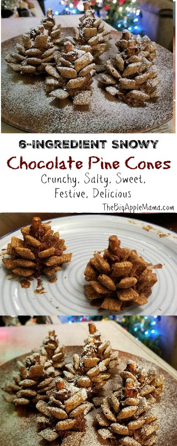 Best 6-Ingredient Snowy Chocolate Pine Cones. Crunchy, Salty, Sweet, Festive, Delicious.