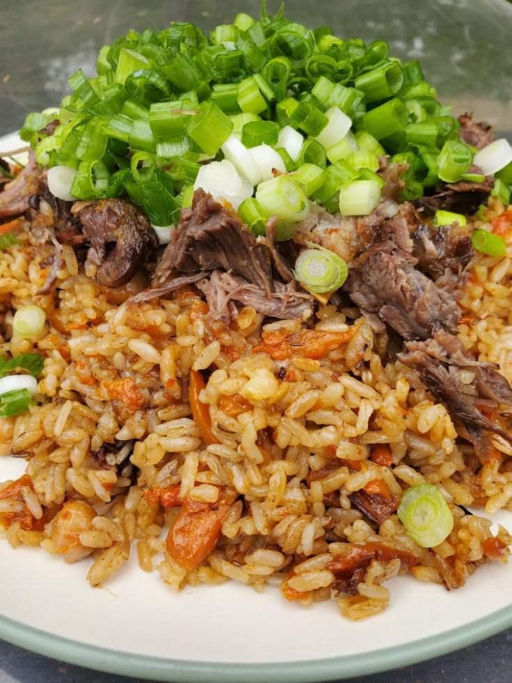 Uzbek Plov recipe, cooked by uzbeks in giant wok (kazan)
