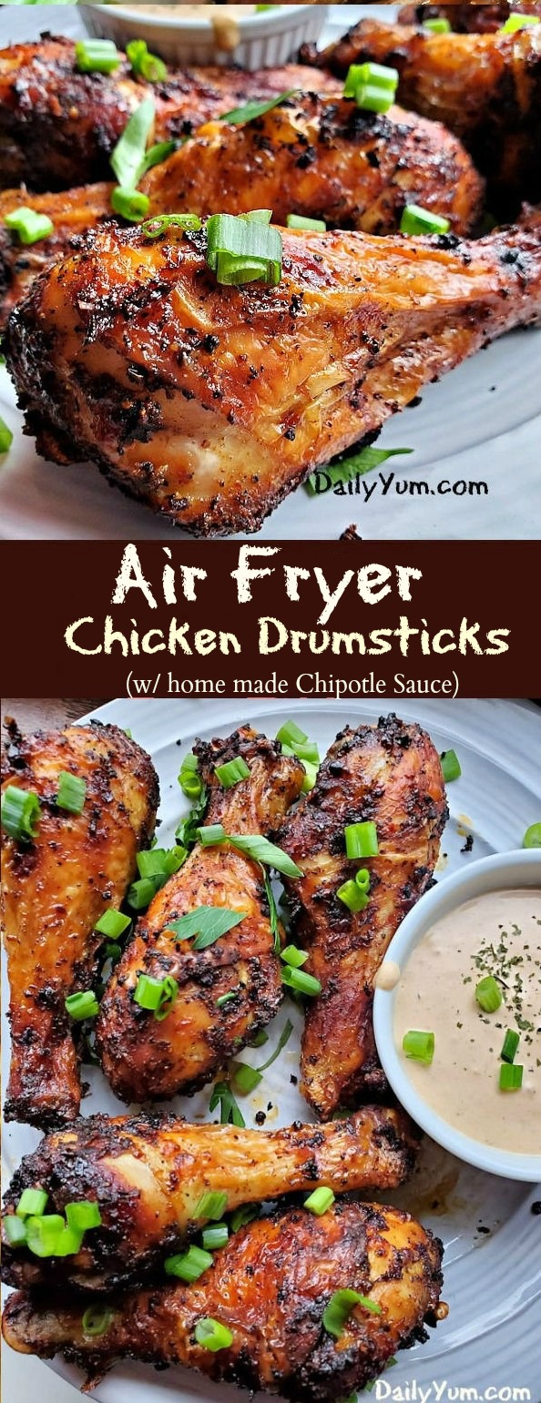 Air Fryer Chicken Drumsticks, seasoned with Trader Joe's BBQ Rub and Seasoning with Coffee & Garlic