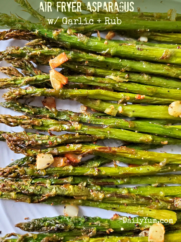 Air fryer garlic roasted asparagus