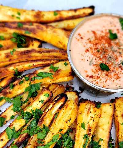 Air Fryer Roasted Parsnip with Garlic and Herbs