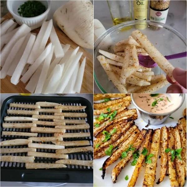 how to make air fryer daikon radish fries