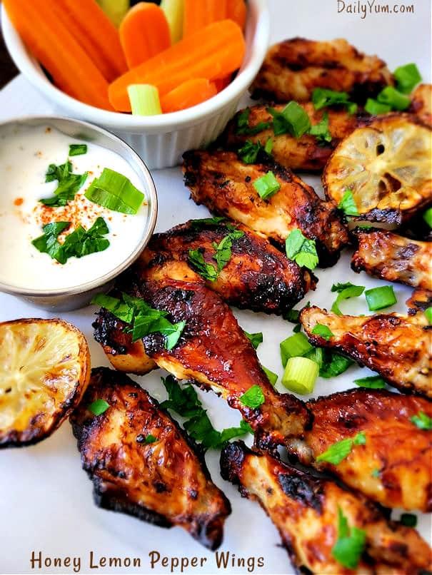 Honey Lemon Pepper Chicken Wings recipe