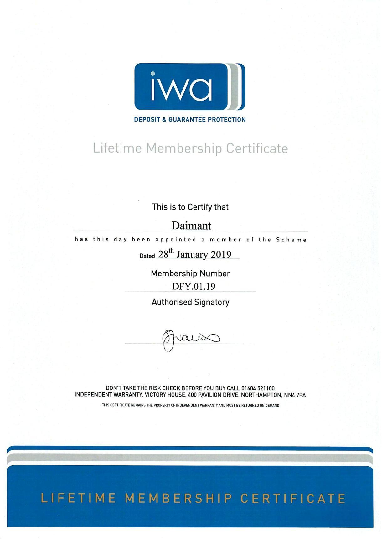 iwa certificat
