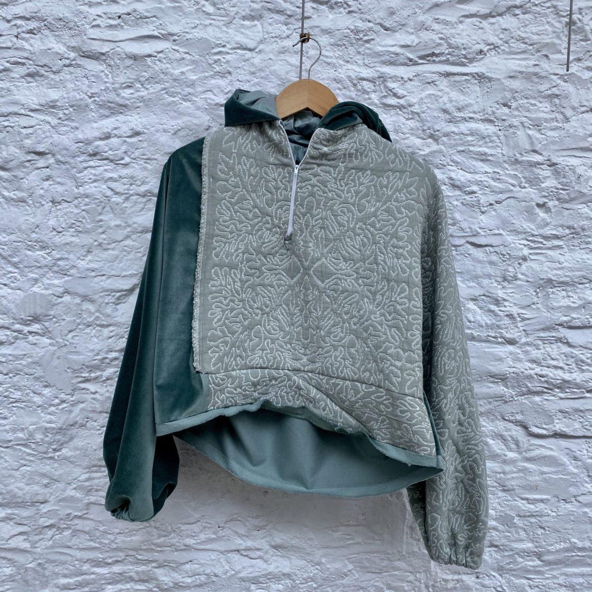 green, velvet, hoodie, sustainable hoodie, oversized, boxy, unisex, genderfluid